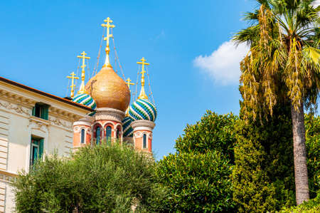 Sanremo, Italy - September 01, 2019: Vibrant saturated colorful domes of the Russian Orthodox Church in Sanremo