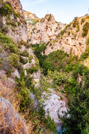 High rocky mountains above Fiordo Di Furore natural gorge with Tyrrhenian sea bay in Campania, Italy Reklamní fotografie