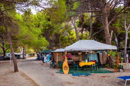 Cilento Vallo di Diano and Alburni National park, Italy - September 06, 2019: Cozy inside territory of Village Camping Odyssey located in Cilento Vallo di Diano and Alburni National park.