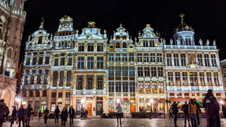Brussels, Belgium, Italy - November 15, 2019: Night shot of illuminated facades on the Grand Place or Square also used in English or Grote Markt or Grand Market that is the central square of Brussels.