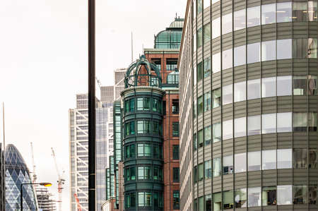 London, United Kingdom - September 14, 2017: Modern glass and metal facades of British architecture in London.