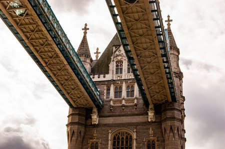 London, United Kingdom - September 14, 2017: The upper bridge levels of the famous Tower bridge in London from below.