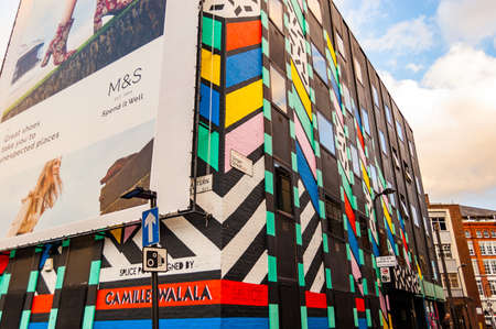 London, United Kingdom - September 14, 2017: Vibrant multicolor facade of the building on Singer street in London
