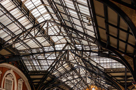 London, United Kingdom - September 14, 2017: Metal glass roof construction in Liverpool Street Station in London