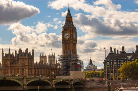 London, United Kingdom - September 14, 2017: Famous cityscape view of London. Thames river traffic, Westminster bridge and amazing Big Ben on the background