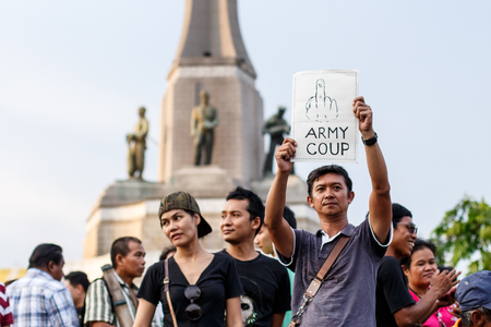 demonstrator: Anti Coup Protest at Victory Monument, THAILAND  25 5 2014