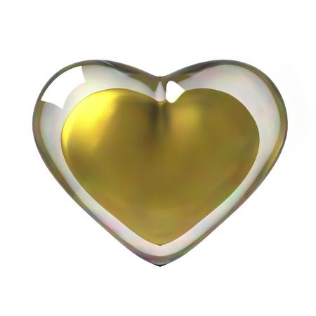 3D Golden Heart Stock Photo