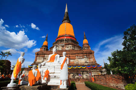 ch: Big Pagoda in Old town temple in Thailand on blue sky day