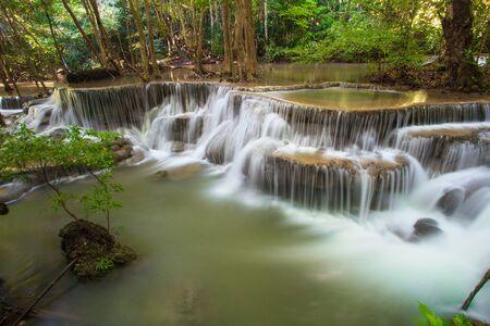 khamin: Hui Mae Khamin waterfall in deep forest , Thailand Stock Photo