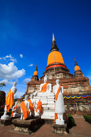 Big Pagoda in Old town temple in Thailand on blue sky day