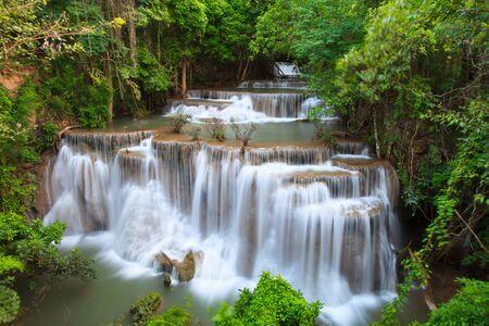 Hui Mae Khamin waterfall in deep forest , Thailand Stock Photo