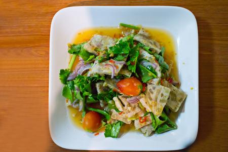 moo: White Pork Sausage Spicy Salad,