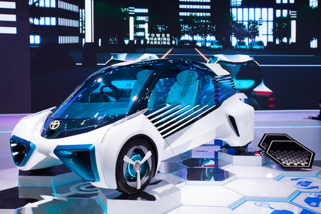 Impact Muangtong Thani,Thailand 29Mar-9April 38th Thailand Motorshow Toyota fuel car concept H2O ,This car uses four hydrogen fuel tanks, which store high-pressure compressed hydrogen.