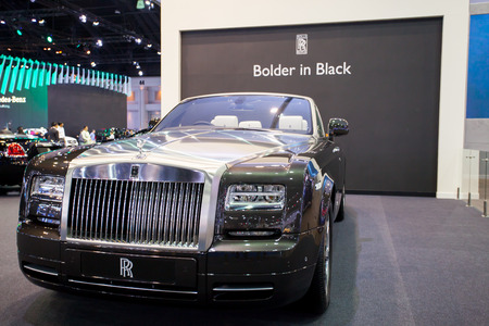wraith: Impact Muangtong Thani,Thailand 29Mar-9April 38th Thailand Motorshow Rolls Royce blacnk luxury car