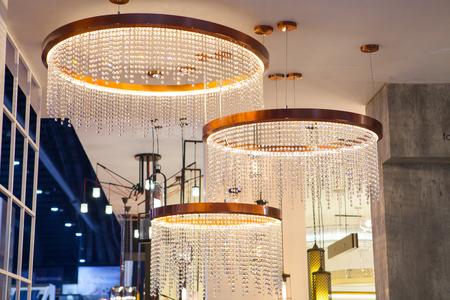 chandelier background: Beautiful chandelier. luxury expensive chandelier hanging under ceiling