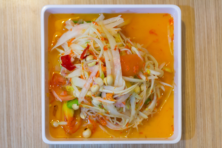 Famous Thai food, papaya salad or what we called Somtum in Thai
