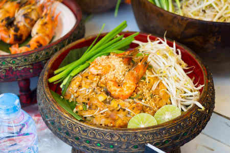 bean sprouts: Thai Fried Noodles Pad Thai with shrimp and vegetables Stock Photo