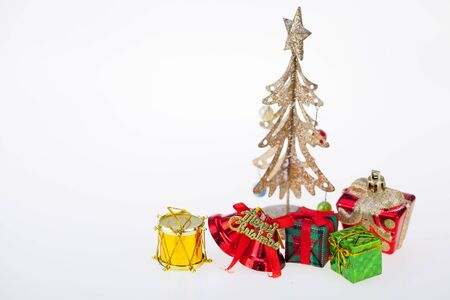 paper textures: Gift boxes and decoration Christmas Day and New Years isolated on a white surface.