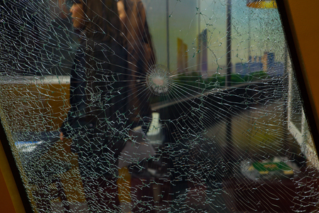Broken glass for background pattern Stock Photo