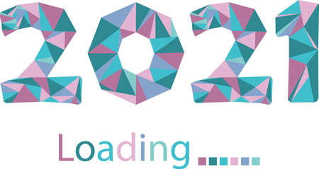 2021 numbers of the new year coming in low poly triangle style. Soft pastel blue, pink, turquoise colors. Isolated vector. Loading process. Template for advertising, celebration, sales, event banner Vettoriali
