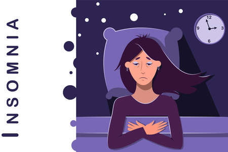 Sleepless night, awake upset sad woman in bed. Worried, anxious person with insomnia problems. Late time on a clock. Flat vector illustration with copy space for text or logo. All night thoughts.