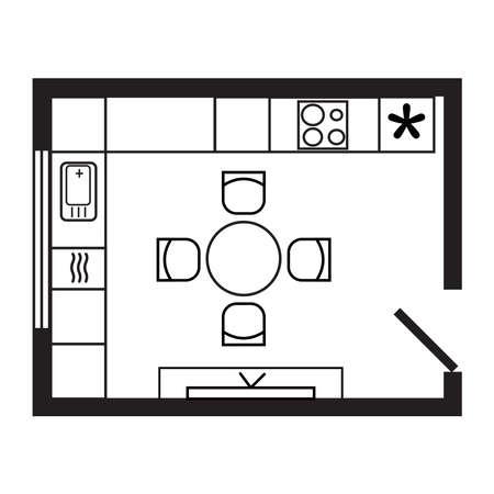 L-shape modern kitchen floor plan scheme. Furniture, equipment settlement. Black line isolated vector icon for website about interior design. Round table, chairs, fridge, sink, dishwasher, TV symbols.