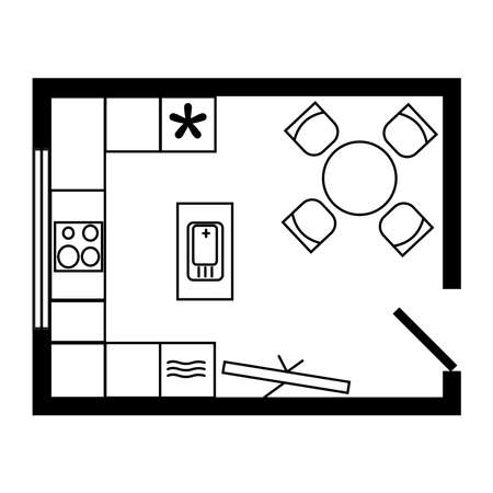 U-shape kitchen with island configuration floor plan. Furniture and equipment placement example scheme. Line icon for website about design or architecture. Vector isolated. Fridge, sink, table, chair Vetores
