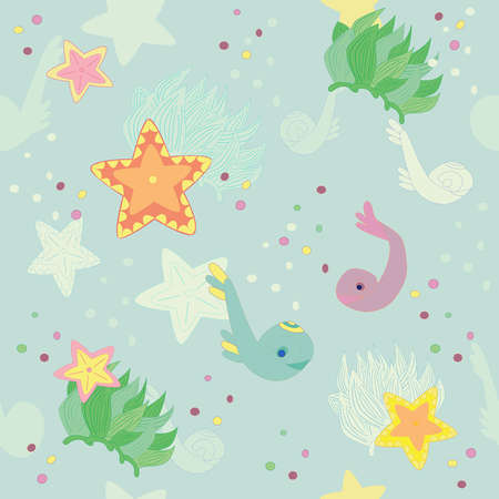 marine life, seamless pattern Vector