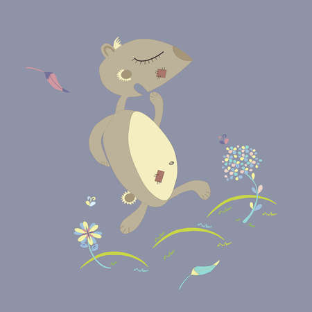 gopher: illustration of gopher jumping on the meadow