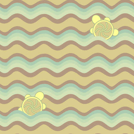 colorful abstract pattern, waves and turtles Vector