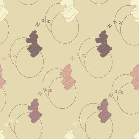 Seamless Illustration Featuring Teddy Bears Vector