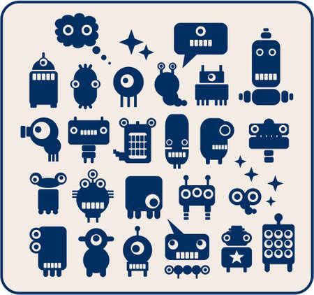 animated alien: Robots, monsters, aliens collection. Vector illustration. Illustration