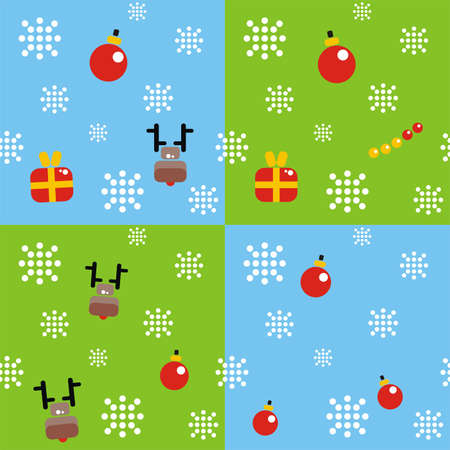 Christmas background with snowflakes, gifts, deer and decoration. Vector illustration. Stock Vector - 11663092