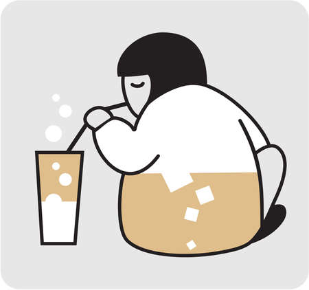 sit back: Person with the glass of milk. Vector illustration.