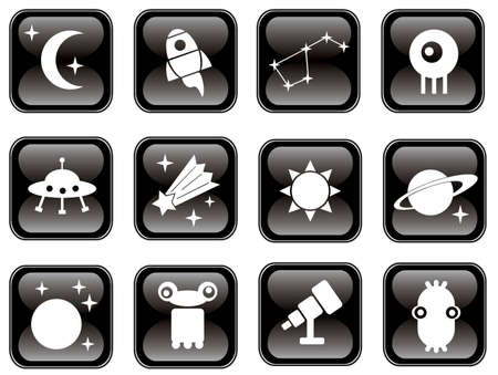 planet futuristic: Space icons set on black. Vector illustration.