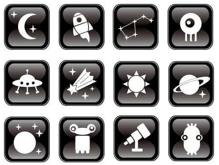 zero gravity: Space icons set on black. Vector illustration.