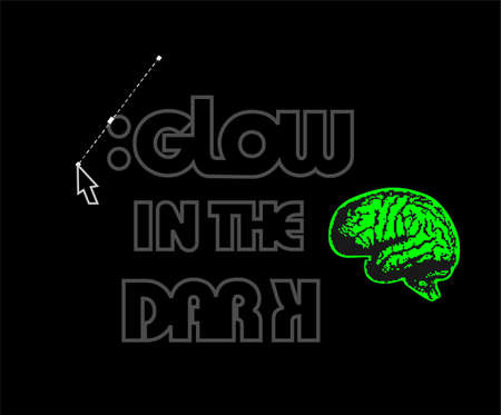 Brain glowing in the dark. Vector
