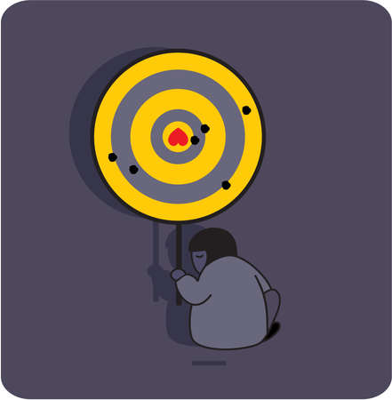 Person with the target and broken heart. Vector illustration. Vector