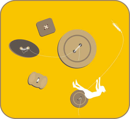 sway: Sway on the button. Happy girl. Vector illustration. Illustration