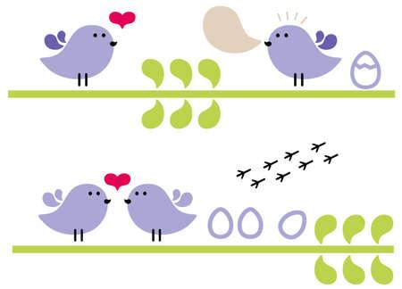 Violet birds. Vector illustration. Vector