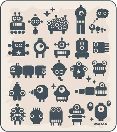 Robots, monsters, aliens, viruses collection #2. Vector illustration. Vector
