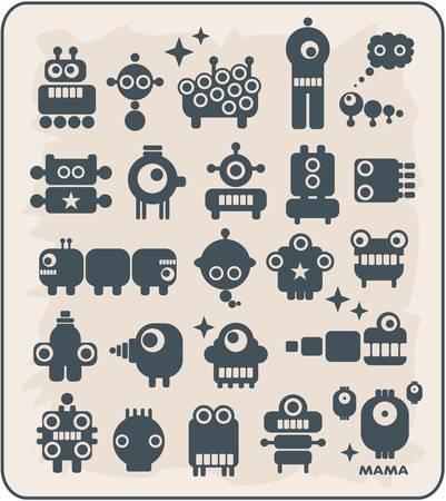 animated alien: Robots, monsters, aliens, viruses collection #2. Vector illustration.