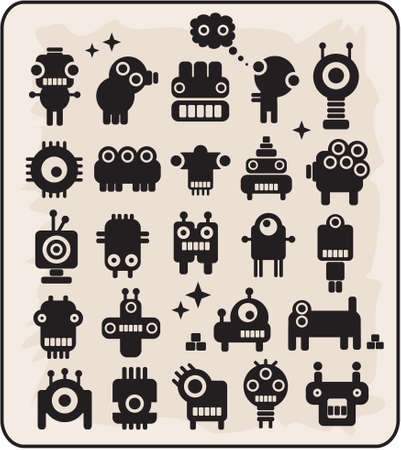 Robots, monsters, aliens collection #3. Vector illustration. Vector