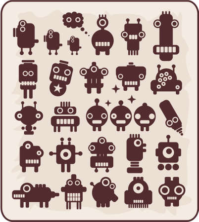 animated alien: Robots, monsters, aliens collection #4. Vector illustration. Illustration