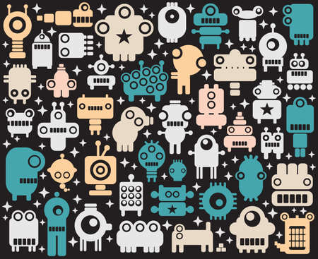 extraterrestres: Los robots espaciales, monstruos, de fondo colorido extranjero. Ilustraci�n del vector.