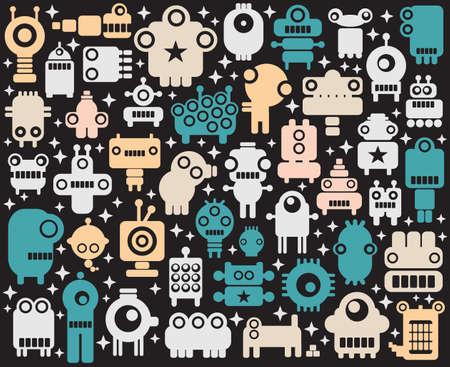 alien robot: Space robots, monsters, alien colorful background. Vector illustration.