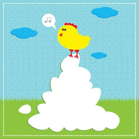 Singing chicken on eggs. (Easter stories) Vector illustration. Stock Vector - 11747416
