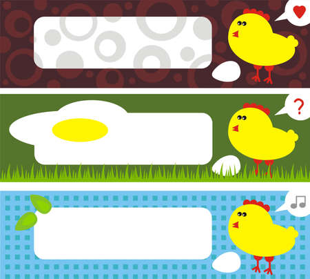 Chicken address labels. (Easter stories) Vector illustration. Vector