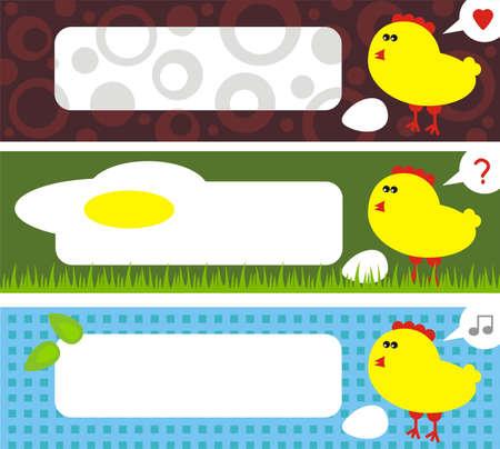 liking: Chicken address labels. (Easter stories) Vector illustration. Illustration