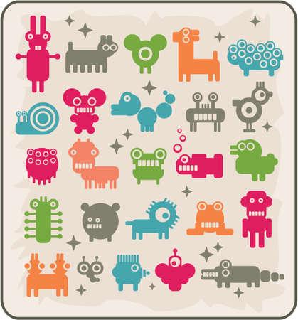bras robot: Zoo des robots en provenance des autres plan�tes. Les animaux rares. Vector illustration. Illustration